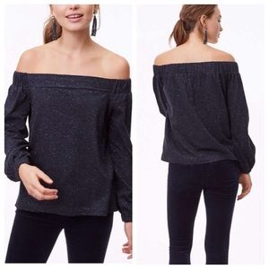 Loft off shoulder Navy blue shimmer top